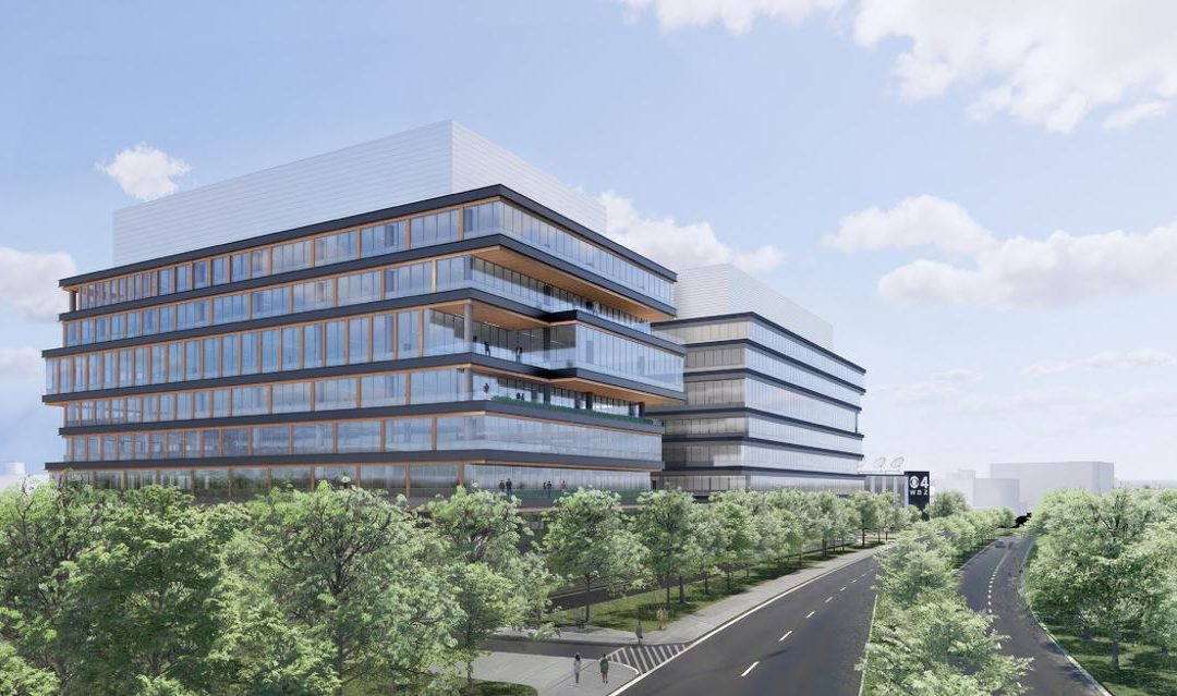 Developers Unwrap Plans for Eight-Story Life-Sciences Buildings as Replacement for old WBZ Studios and Antenna in Allston